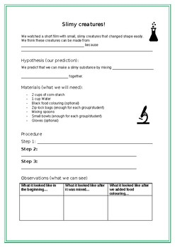 Science Activity - Experiment Worksheet