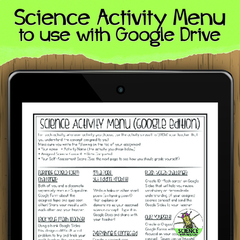 Science Activity Menu to use with Google Classroom or Google Drive