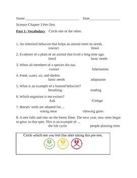 Science Adaptations Pretest/Test/Homework Life Science Adaptations