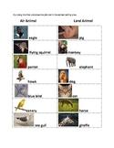 Science - Air vs Land Animal Venn Diagram