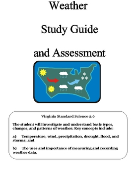 Science:  All about Weather Assessment and Study Guide