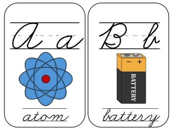 Science Alphabet Chart Cards - In Cursive and Print