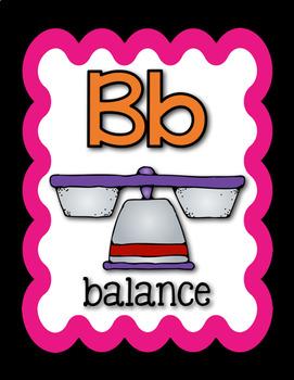 Science Alphabet - Content Related Vocabulary - Black & Rainbow