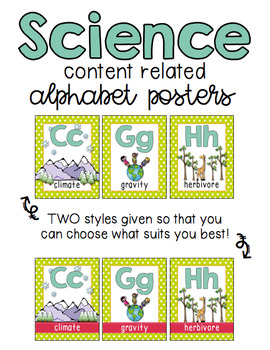 Science Alphabet - Content Related Vocabulary - Starburst Color Theme