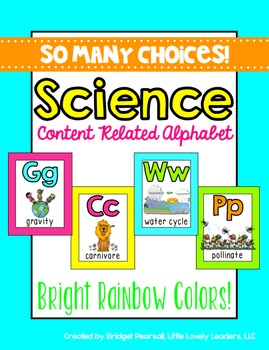 Science Alphabet Posters A to Z (bright rainbow)