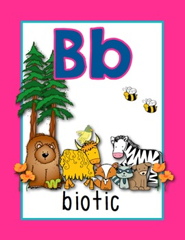 Science Alphabet Posters A to Z (solid pink, blue, teal)