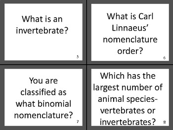 Science Animal Classification (Taxonomy) Task Cards Review Game Activity