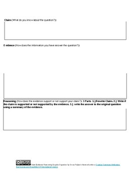 Science Argumentation Claims, Evidence, and Reasoning Graphic Organizer