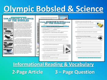 Sports & Science Article - Bobsled (questions, speed problems) - Sub Plans