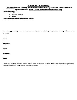 Science Article Template