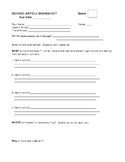 Science Article Worksheet