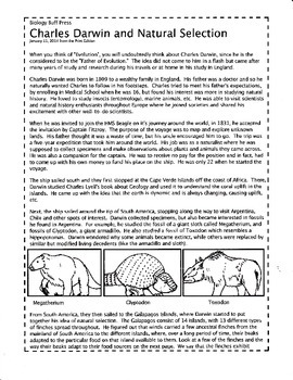 Darwin Natural Selection Worksheets & Teaching Resources | TpT