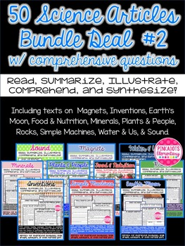 Science Articles: 10 Pack Bundle #2 Deal!  Paired Text Comprehension Questions