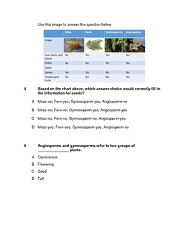 Science Assessment: Plant Structure, Classification, and Reproduction