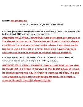 Desert Survival Science Assessment for 3-LS3-2