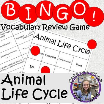 Science BINGO! Animal Life Cycle Vocab Review