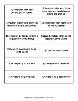 Science BINGO! Interdependence Vocab Review