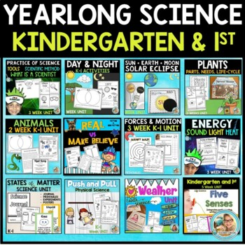 Science BUNDLE kindergarten and 1st Grade 11 Units Yearlong