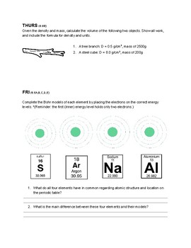 Science Basic Chemistry Warm-up