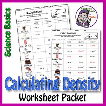 Science Basics Determining Density Using the Formula Worksheet Packet