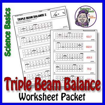 science basics reading a triple beam balance worksheet packet tpt. Black Bedroom Furniture Sets. Home Design Ideas