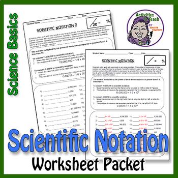 Science Basics Scientific Notation Worksheet Packet