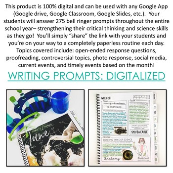 Science Bell Ringer Journal for the Entire School Year: DIGITAL VERSION