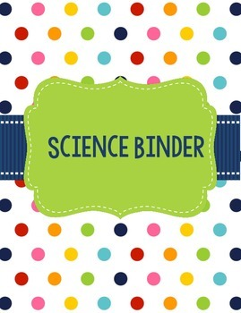 Science Binder Covers or Dividers Bright Polka Dots