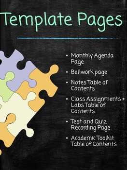Science Binder Organization Template Pages