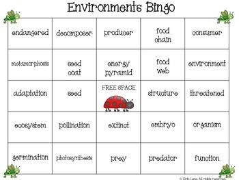 Science Bingo: Environments (Plants and Animals)