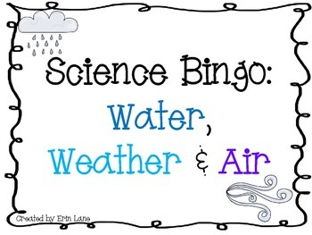 Science Bingo: Water, Weather and Air