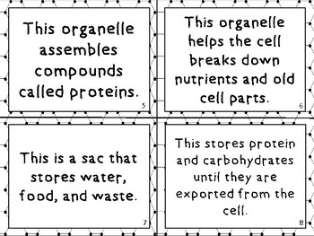 Science Biology Animal and Plant Cell Task Cards Game Activity