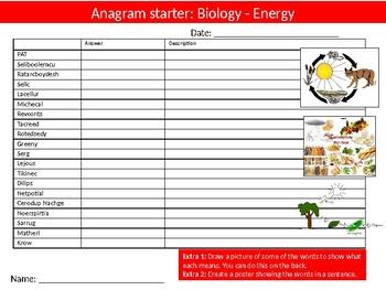 Science Biology Energy Wordsearch Crossword Anagrams Keywords