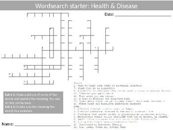Science Biology Health & Disease Wordsearch Crossword Anagrams Keywords
