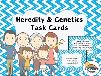Science Biology Heredity and Genetics Task Cards Review Game Activity