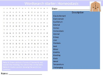 Science Biology Homeostasis Wordsearch Crossword Anagrams Keywords