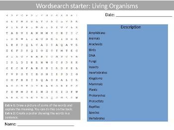 Science Biology Living Organisms Wordsearch Crossword Anagrams Keywords