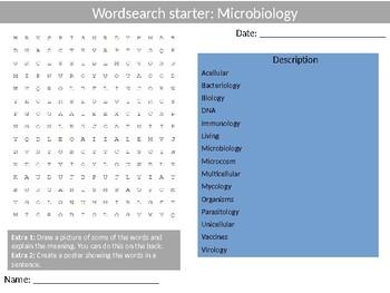Science Biology Microbiology Wordsearch Crossword Anagrams Keywords
