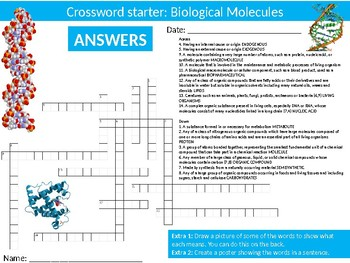 Science Biology Molecules Wordsearch Crossword Anagrams Keywords