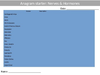 Science Biology Nerves & Hormones Wordsearch Crossword Anagrams Keywords