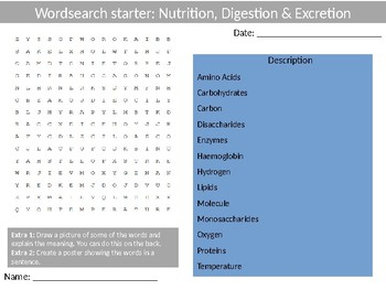 Science Biology Nutrition Digestion Excretion Wordsearch Crossword Anagrams