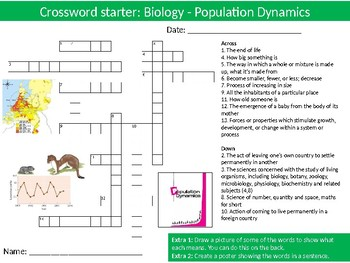 Science Biology Population Dynamics Wordsearch Crossword Anagrams Keywords