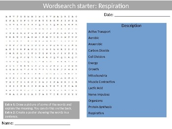 Science Biology Respiration Wordsearch Crossword Anagrams Keywords
