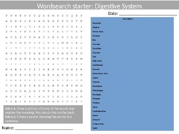 Science Biology The Digestive System Wordsearch Crossword Anagrams Keywords