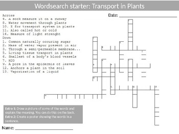 Science Biology Transport in Plants Wordsearch Crossword Anagrams Keywords