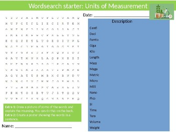 Science Biology Units of Measurement Wordsearch Crossword Anagrams Keywords