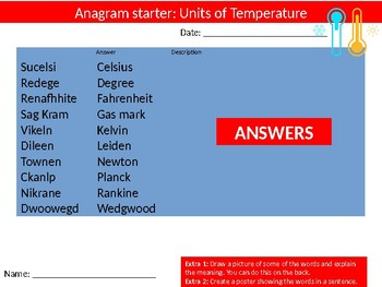 Science Biology Units of Temperature Wordsearch Crossword Anagrams Keywords