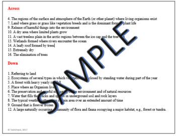 Science Biomes Vocabulary Crossword Puzzle Activity Grades 5-7