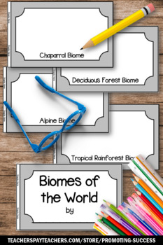 Biomes of the World, Word Wall Cards, Earth Science Review, Student Made Booklet