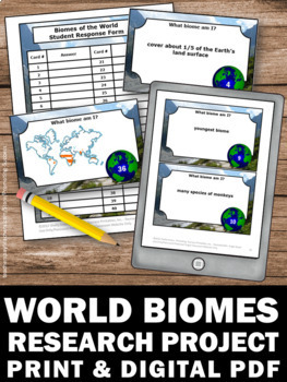 Biomes of the World Task Cards with Diagrams, Earth Science Review